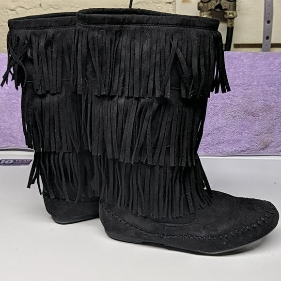 Arizona Jeans Black Fringe Boots